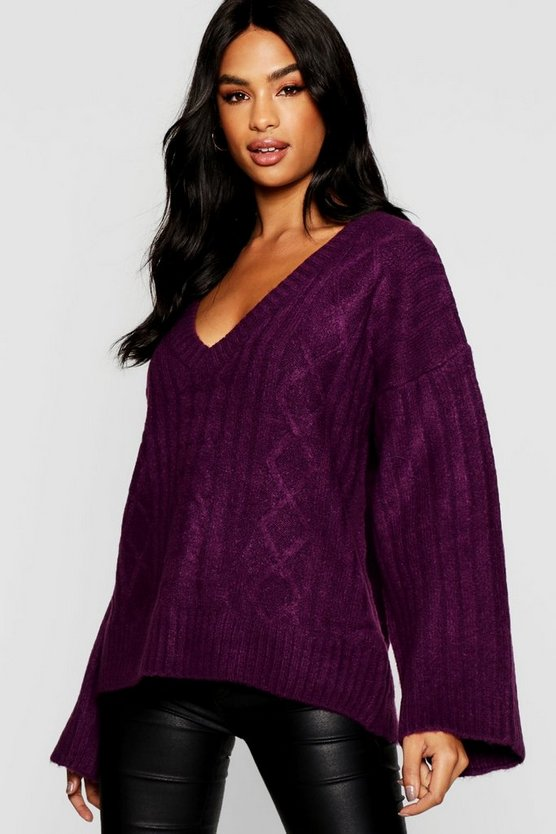 Womens Purple Tall Cable Knit V Neck Jumper
