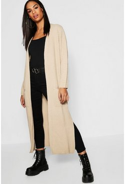 Tall Edge To Edge Maxi Cardigan, Stone, Женские