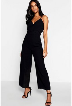 Womens Black Tall Twist Front Culotte Jumpsuit