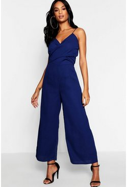 Navy Tall Twist Front Culotte Jumpsuit