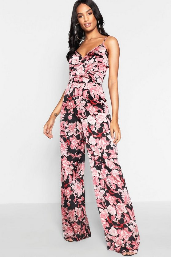 Tall Twist Front Floral Jumpsuit