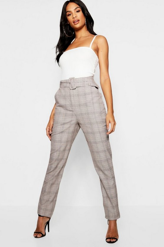 Brown Tall Check High Waisted Belted Pants