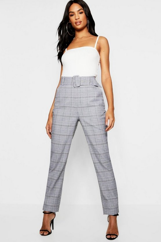 Tall Check High Waisted Belted Trousers