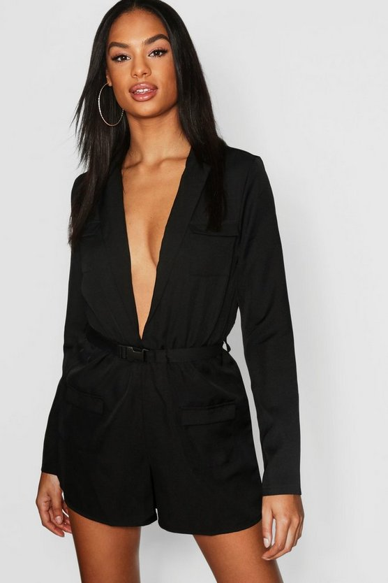 Black Tall Utility Style Belted Playsuit