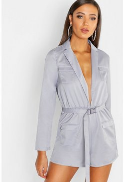 Womens Grey Tall Utility Style Belted Playsuit