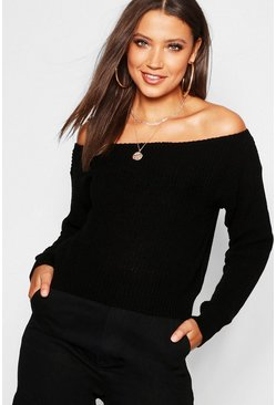 Black Tall Slash Neck Crop Fisherman Jumper