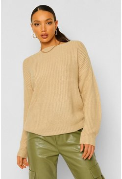 Sand Tall Slash Neck Crop Fisherman Jumper