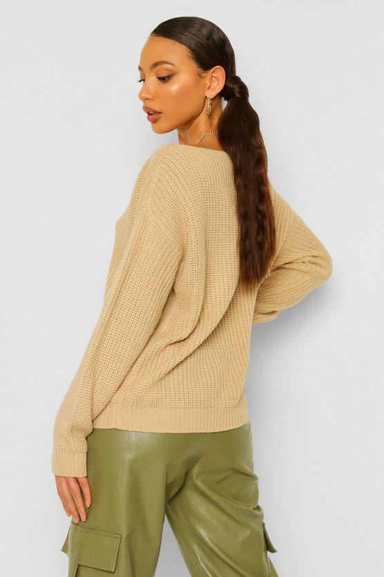 Tall Slash Neck Crop Fisherman Jumper