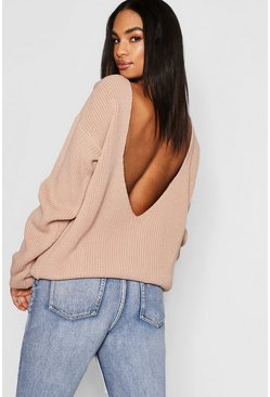 Womens Nude Tall V Back Oversized Jumper