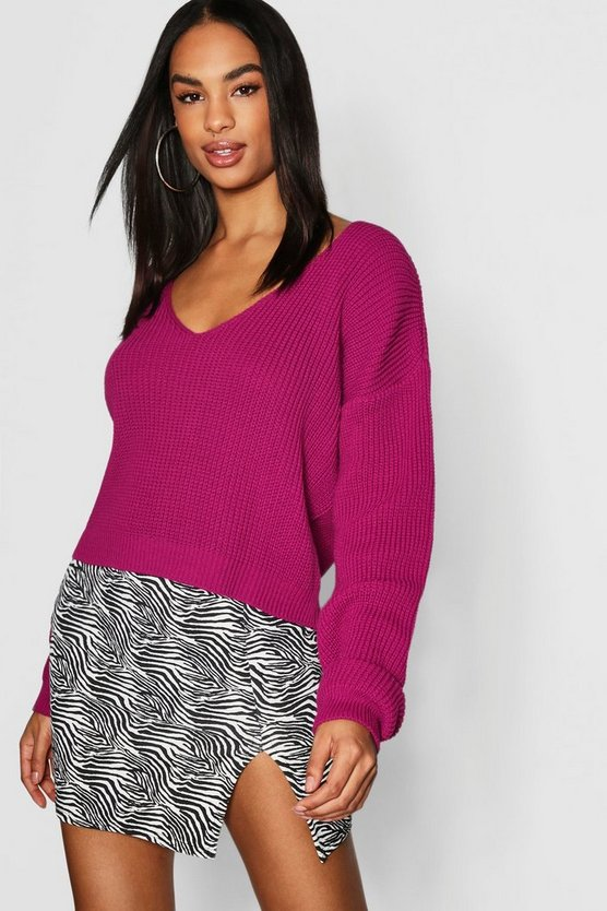 Womens Magenta Tall V Neck Fisherman Crop Sweater