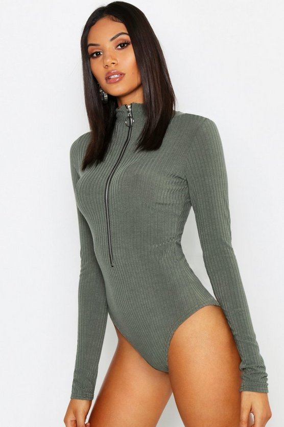 Tall Long Sleeve Zip Front Knitted Rib Bodysuit