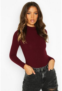 Berry Tall High Neck Long Sleeve Rib Bodysuit