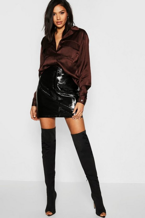 Tall Satin Utility Shirt