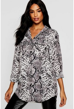Womens Grey Tall Snake Print Oversized Shirt