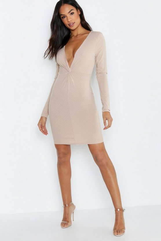 Womens Stone Tall Knot Front Rib Long Sleeve Dress