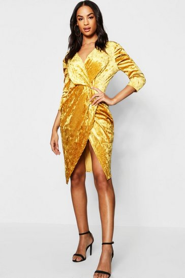 Womens Gold Tall Crushed Velvet Wrap Dress