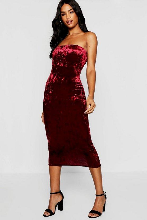 Berry Tall Crushed Velvet Bandeau Midi