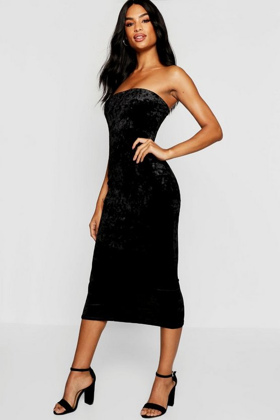 Tall Crushed Velvet Bandeau Midi