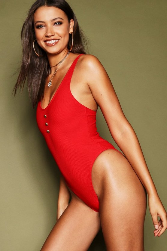Womens Rust Tall Rib & Detail Plunge Swimsuit