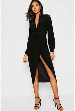 Womens Black Tall Disco Slinky Twist Front Wrap Dress