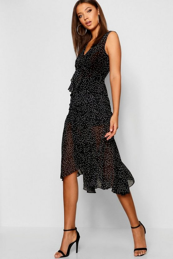 Tall Polka Dot Ruffle Midi Dress