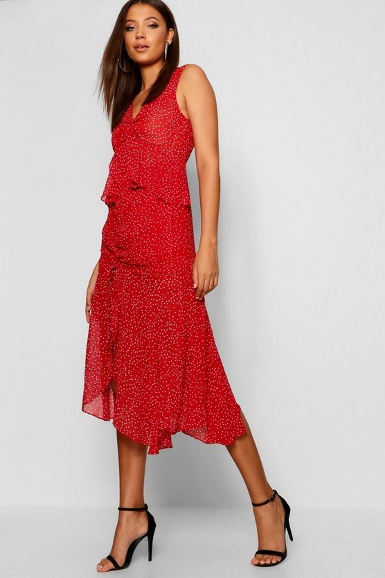 Womens Red Tall Polka Dot Ruffle Midi Dress