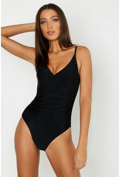 Womens Black Tall Control Wrap Over Swimsuit