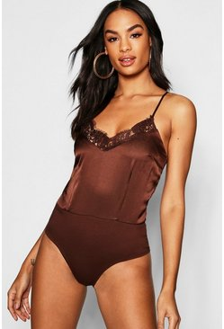Womens Chocolate Tall Lace Trim Bodysuit