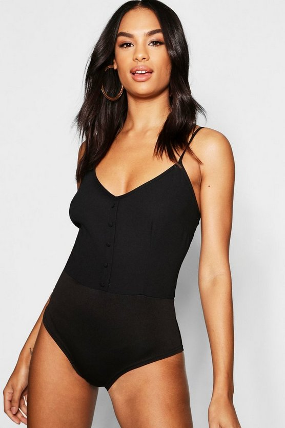 Tall Button Detail Cami Bodysuit