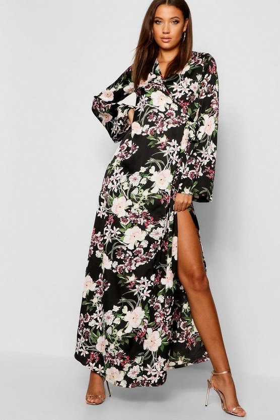 Womens Black Tall Floral Belted Wrap Kimono Maxi Dress