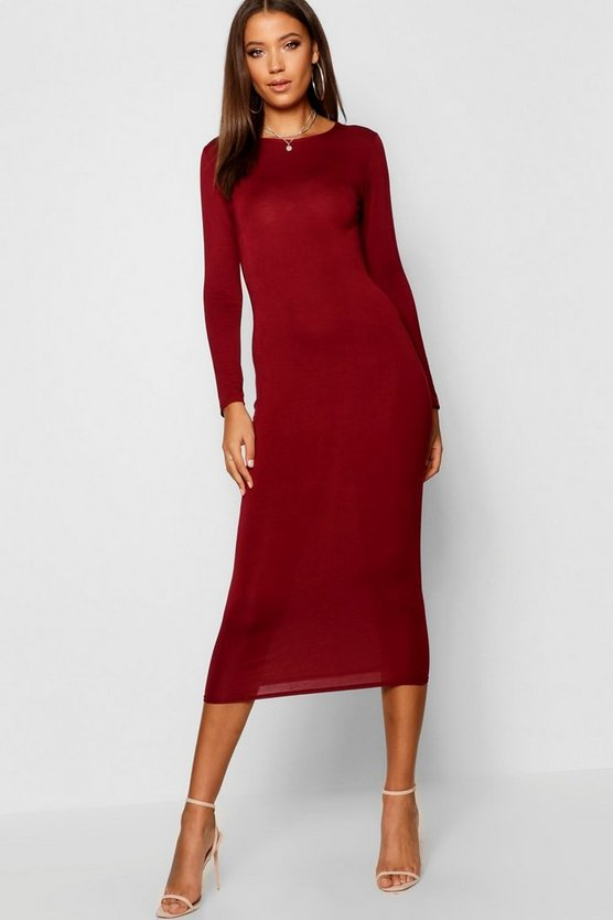 Womens Berry Tall Scoop Neck Bodycon Midi Dress