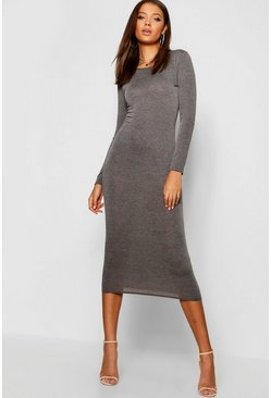Womens Charcoal Tall Scoop Neck Bodycon Midi Dress