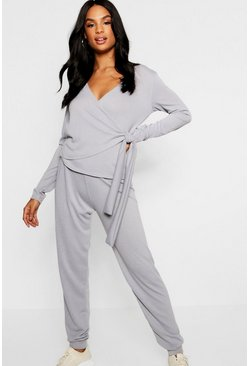 Womens Light grey Tall Soft Knit Wrap Front Lounge Set