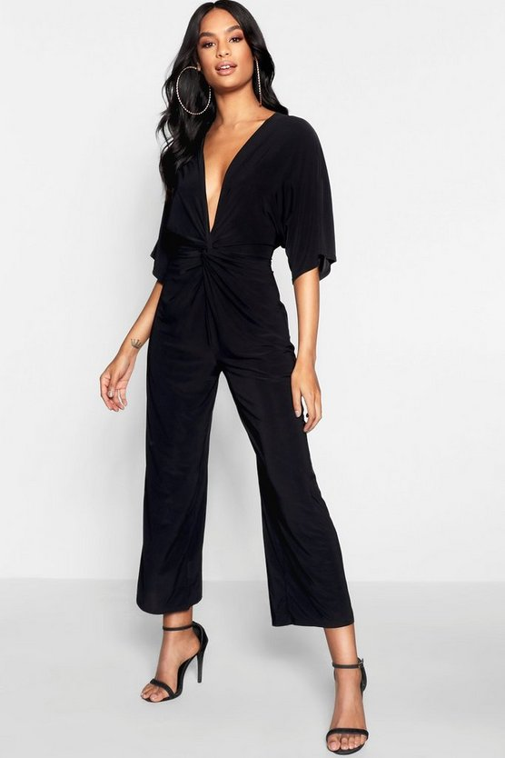 Womens Black Tall Knot Front Culotte Jumpsuit
