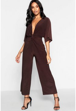Womens Chocolate Tall Knot Front Culotte Jumpsuit