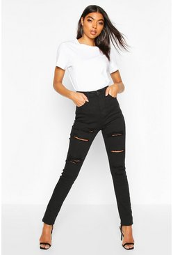Tall Skinny Jeans in used-Optik, Schwarz, Damen