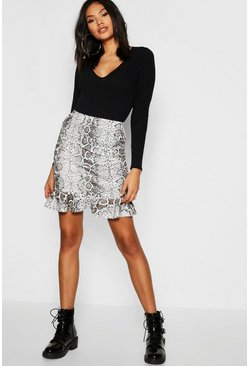 Tall Frill Hem Snake Print Mini Skirt, Tan, Donna