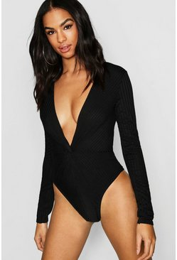 Womens Black Tall Rib Knot Front Bodysuit