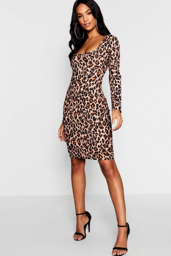 Tall Leopard Print Bodycon Mini Dress