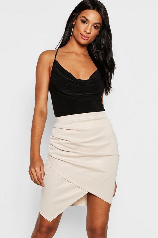 Womens Stone Tall Ruched Wrap Mini Skirt