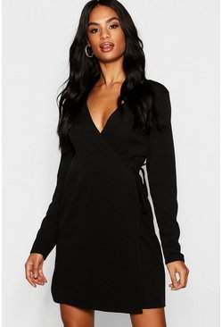 Womens Black Tall Wrap Skater Dress
