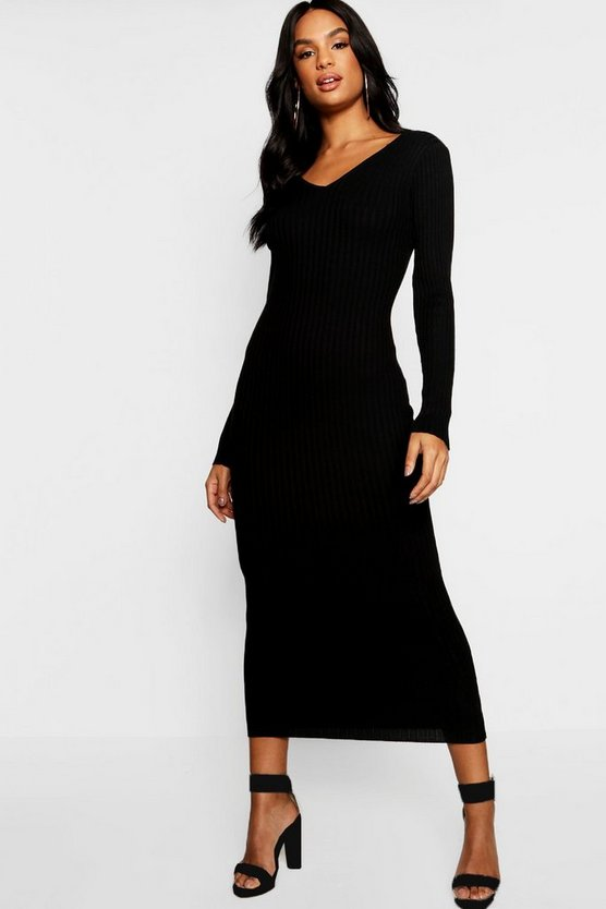 Womens Black Tall V Neck Rib Knit Midaxi Dress