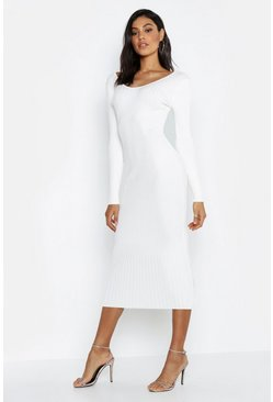 Womens White Tall V Neck Rib Knit Midaxi Dress