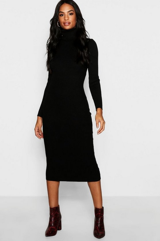 Tall Roll Neck Rib Knit Dress
