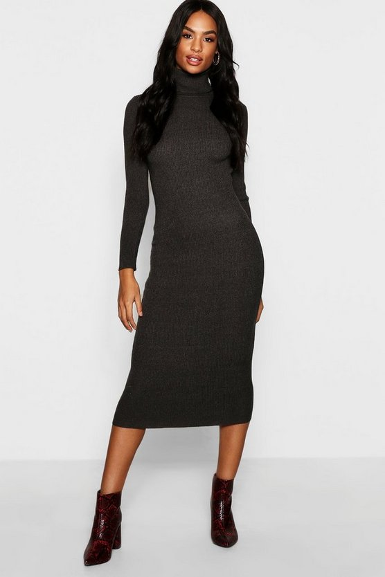 Womens Charcoal Tall Roll Neck Rib Knit Dress
