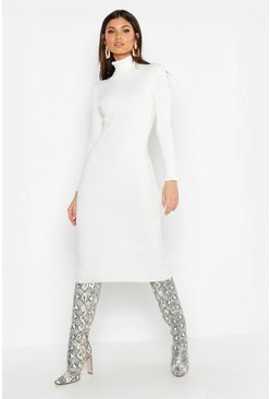 Womens Cream Tall Roll Neck Rib Knit Dress