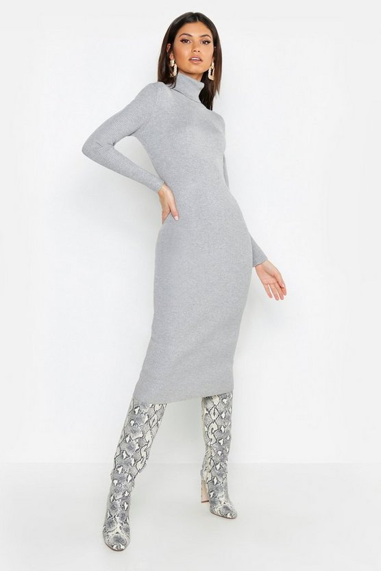 Womens Grey Tall Roll Neck Rib Knit Dress