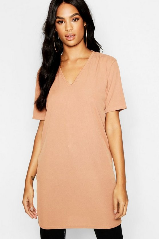 Tall V Neck Rib Longline T-Shirt