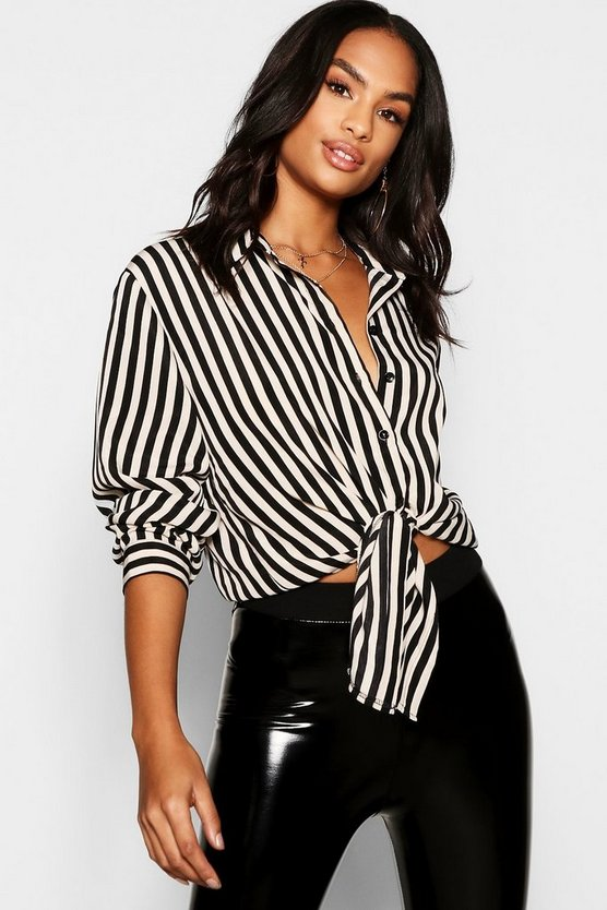 Womens Tall Satin Stripe Tie Front Shirt