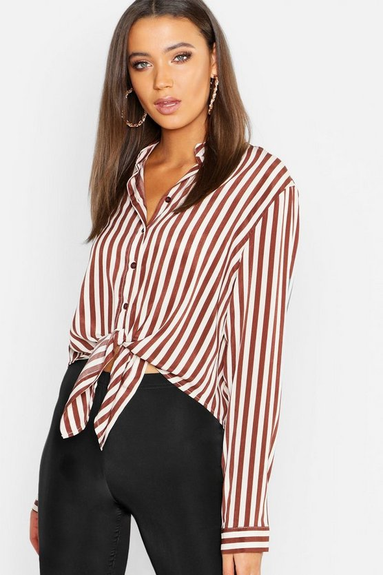 Tall Satin Stripe Tie Front Shirt